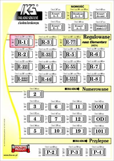 OKŁADKI NA KSIĄŻKI REGULOWANE R1 - IKS /50/ IKS