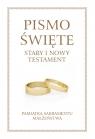 Pismo Święte Stary i Nowy Testament B5 - oprawa beżowa z białą obwolutą - Pamiątka Sakramentu Małżeństwa