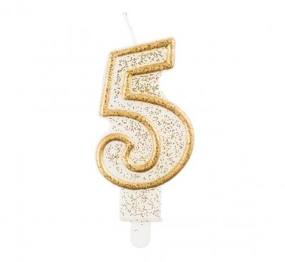 Świeczka urodzinowa Godan cyferka złota 5 (pf-sczk5)