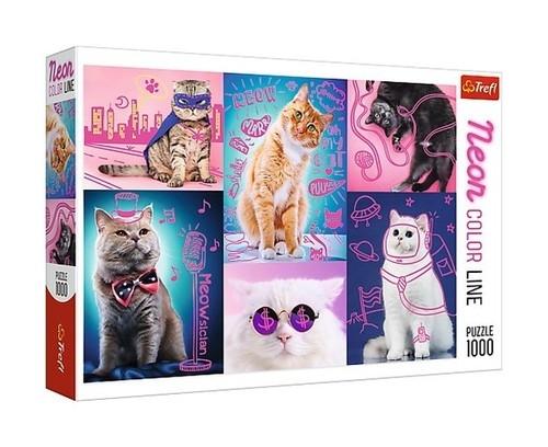 Puzzle 1000 Neon Color Line: Super koty (10581) (Uszkodzone opakowanie)