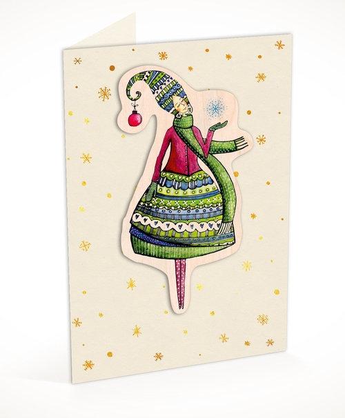 Karnet C6 naklejany + koperta Święta Kobieta ze śnieżynką