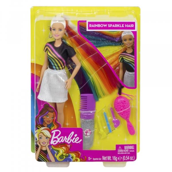 Lalka Barbie: Błyszczące tęczowe włosy
