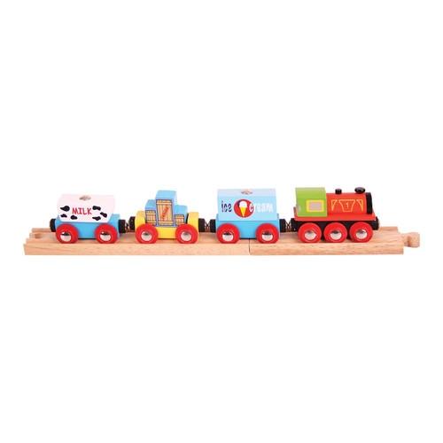 Pociąg drewniany z mlekiem i lodami