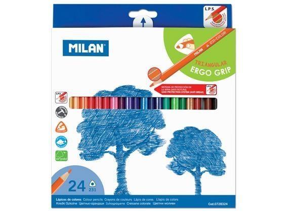 Milan, kredki ołówkowe 231 trójkątne, 24 kolory (0728324)