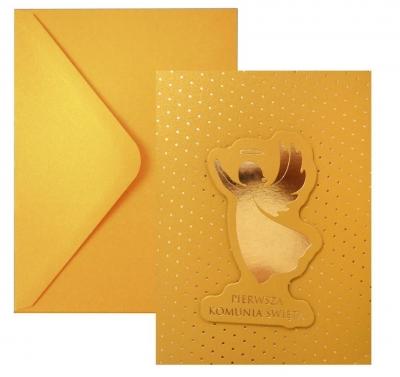 Kartka komunijna - złoty anioł
