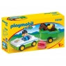 Playmobil 1.2.3: Samochód z przyczepa dla konia (70181) Wiek: 18m+