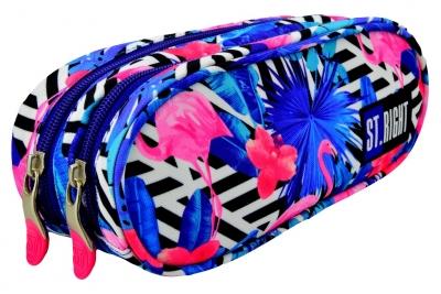 Piórnik szkolny saszetka dwukomorowa Stright Flamingo pink&blue PU-02