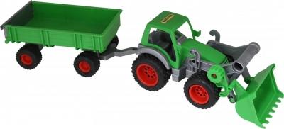 Traktor - ładowarka z przyczepą