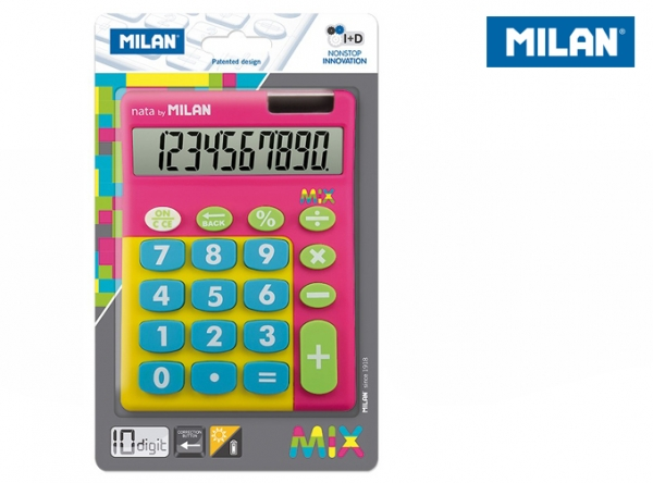 Kalkulator z dużymi klawiszami Milan Mix - Różowy (159906TMPBL)