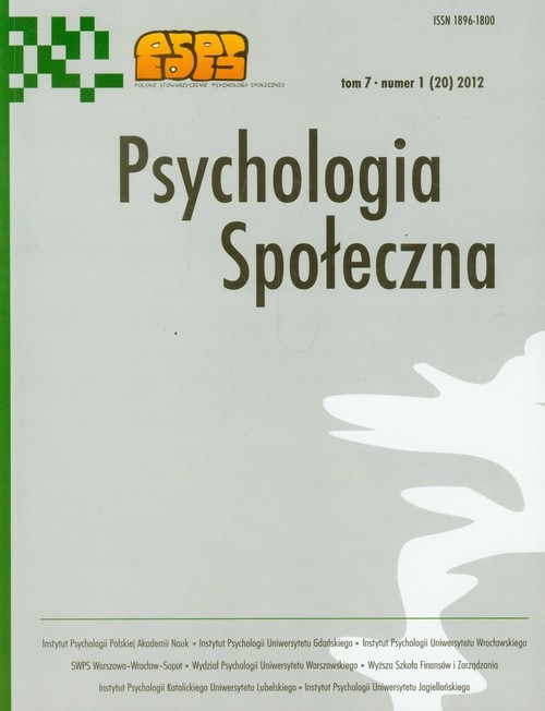 Psychologia społeczna Tom 7/2012