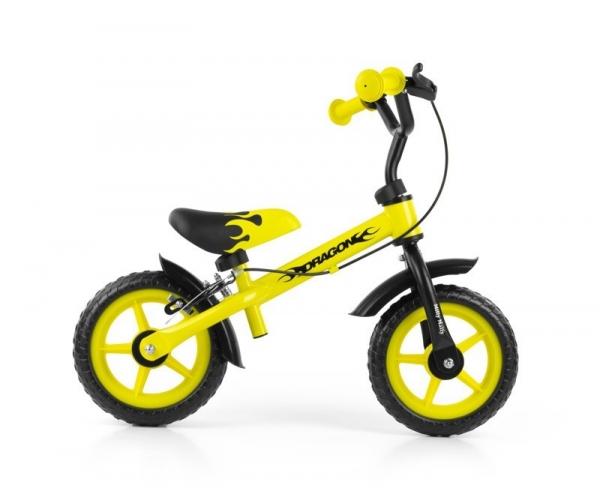 Rowerek Biegowy Dragon z hamulcem żółty (0820)