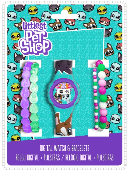 Zegarek cyfrowy, 4 bransoletki - Littlest Pet Shop (LPS17013)