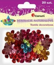 Dekoracje materiałowe kwiaty mix 20 sztuk 28x28mm F020 284825