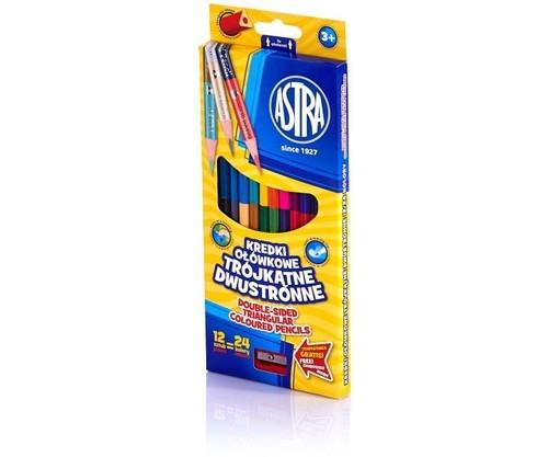 Kredki ołówkowe trójkątne dwustronne 12 sztuk, 24 kolory
