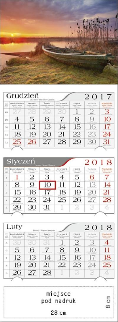 Kalendarz trójdzielny Mazurski Zachód 2018 GM-917-T11-BIAŁY