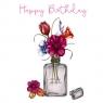 Karnet Swarovski kwadrat Urodziny kwiaty we fiolce