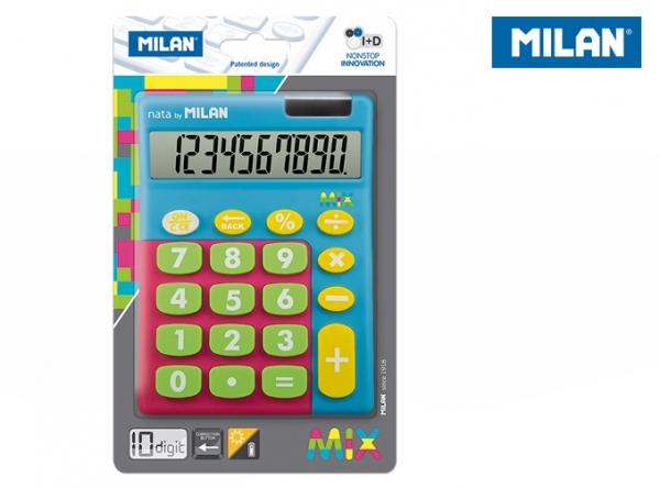 Kalkulator z dużymi klawiszami Milan Mix - Niebieski (159906TMBBL)