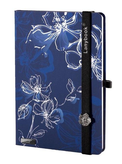 Notes A6 Lanybook Sparkling Flower w kratkę niebieski