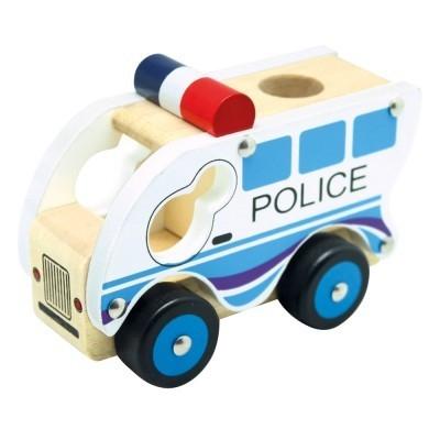 Drewniany samochód policja (84082)