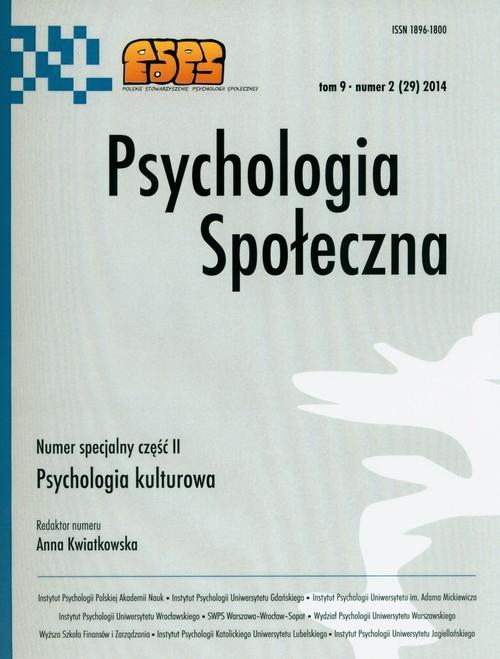 Psychologia społeczna Tom 9 Numer 2 (29) 2014