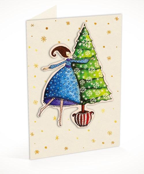 Karnet C6 naklejany + koperta Święta Kobieta i choinka