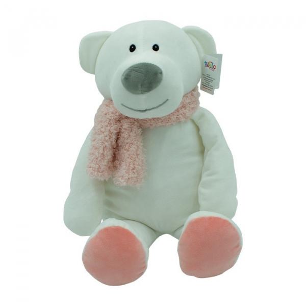 Maskotka Niedźwiedź Kamil różowy szalik 35 cm (5103a)