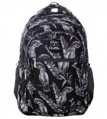 Plecak trzykomorowy czarny Ptaki