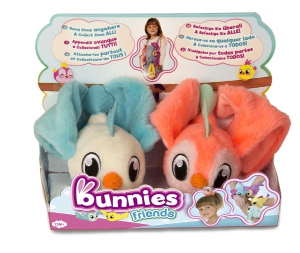 Bunnies Friends: Pluszowy ptaszek z magnesem 2-Pak - biało-niebieski i ciemnoróżowy (BUN 097223/097834)