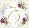 Karnet Swarovski kwadrat Urodziny 75 kwiaty