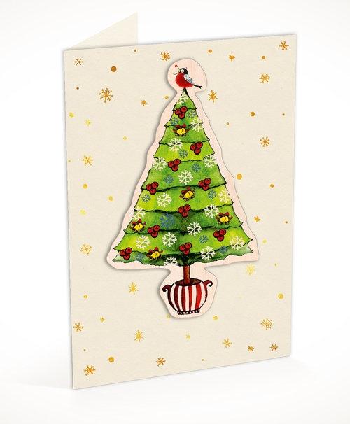 Karnet C6 naklejany + koperta Święta Choinka