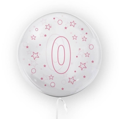 Balon Tuban 45cm cyfra 0 - Gwiazdki, różowy (TB 3683)