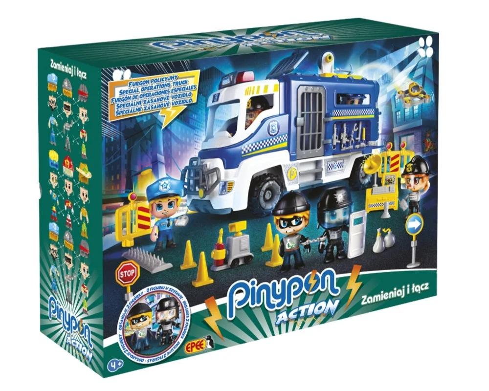 """PinyPon Action - Zestaw """"Furgon policyjny"""" z 2 figurkami i akcesoriami (FPP16060)"""