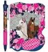 Zestaw długopis automatyczny + notes kształtowy - Konie
