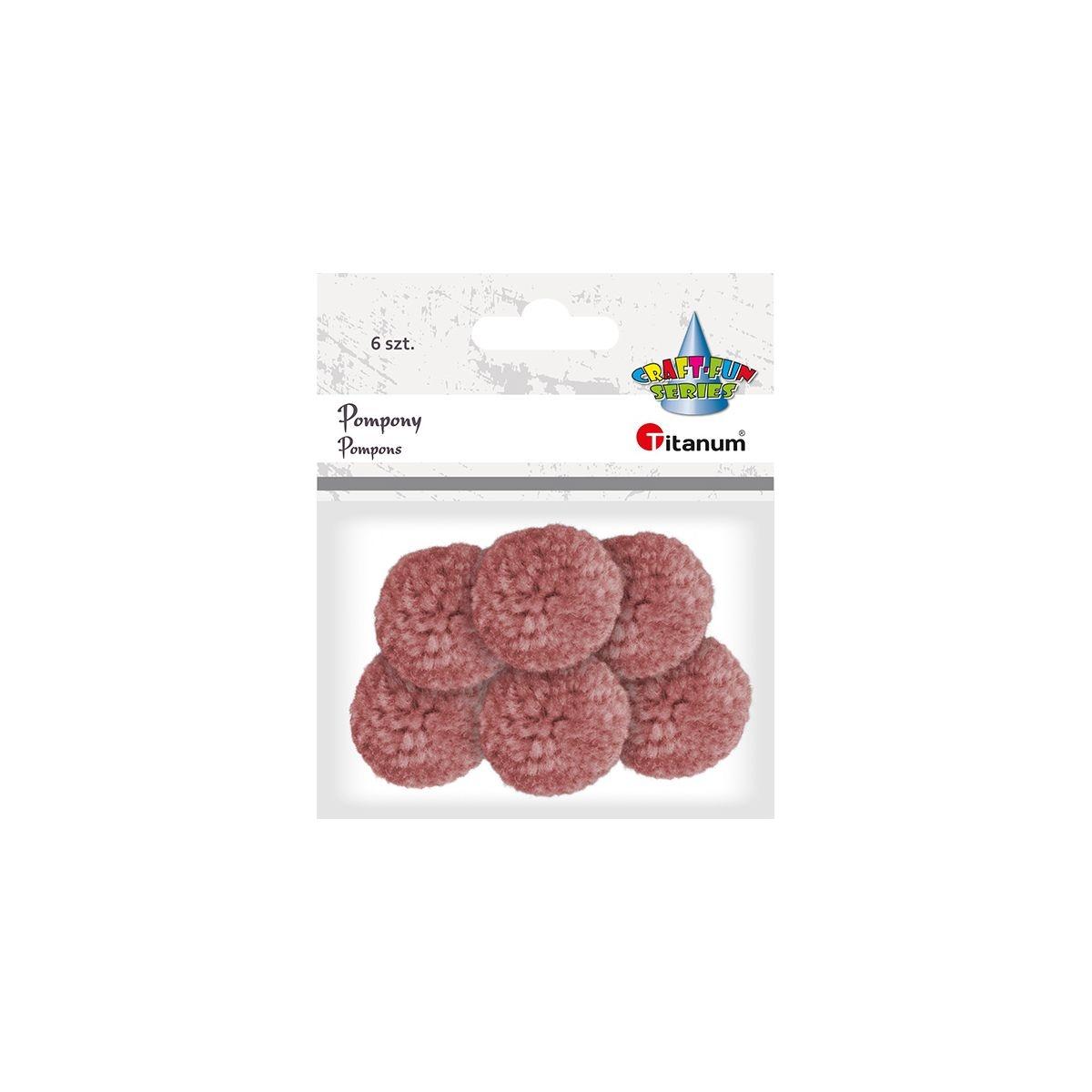 Pompony włóczkowe, 6 szt. 3cm - różowy ciemny (412947)