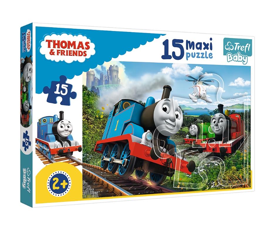 Puzzle Maxi 15: Tomek i przyjaciele - Pędzące lokomotywy (14283)