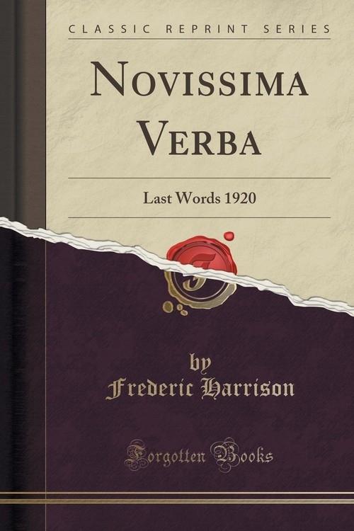Novissima Verba Harrison Frederic