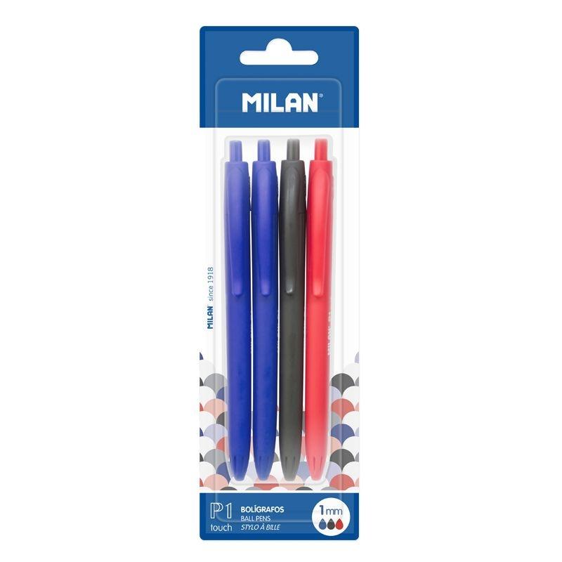Długopisy Milan P1 Touch - 2 niebieskie, 1 czarny, 1 czerwony na blistrze (BWM10254)