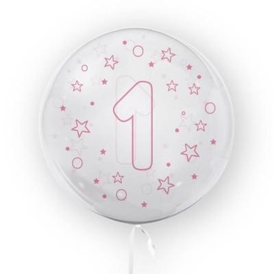 Balon Tuban 45cm cyfra 1 - Gwiazdki, różowy (TB 3684)