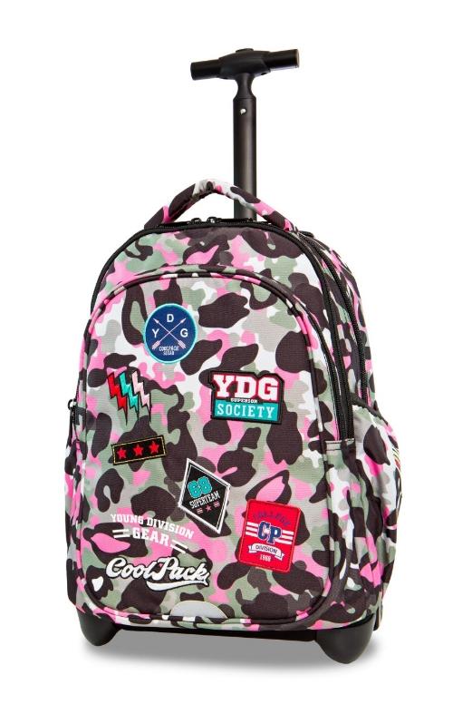 98b9d62ab10f3 CoolPack - Junior - Plecak młodziezowy na kółkach - Camo Pink (Badges)  (A28112)