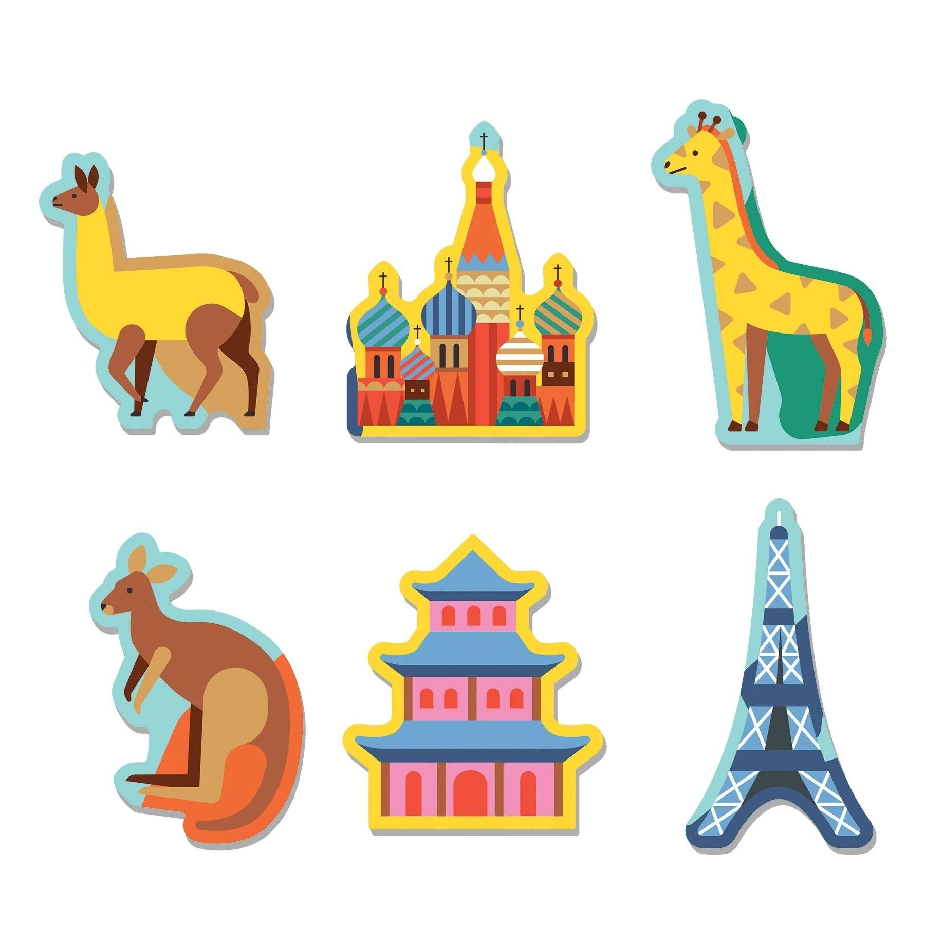 Mudpuppy, Puzzle 78: Mapa Świata z elementami w kształcie budynków i zwierząt (MP60846)
