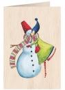Karnet drewniany C6 + koperta Święta Kobieta z bałwanem