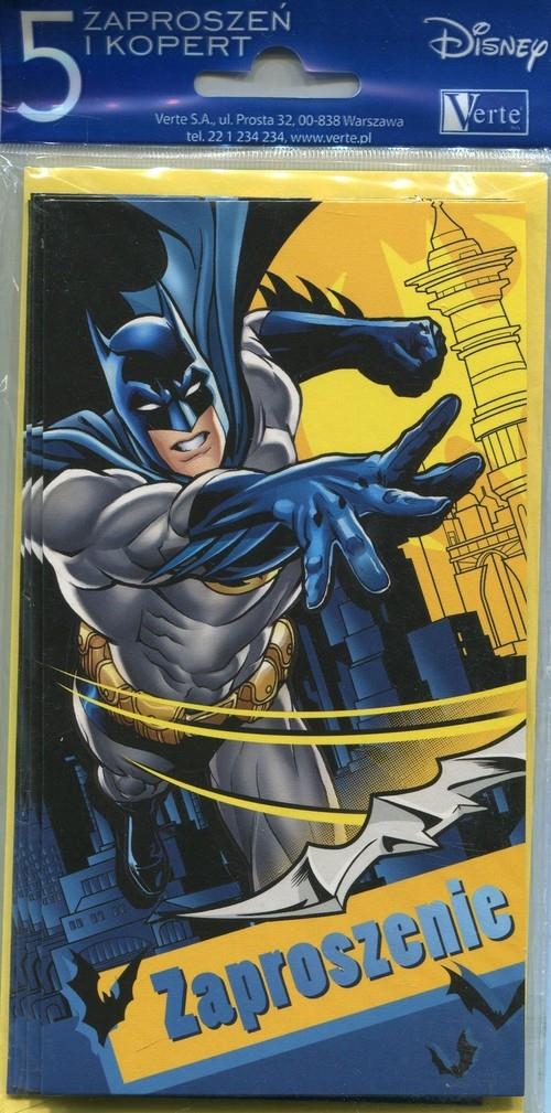 Zaproszenie z kopertą małe Batman 5 sztuk