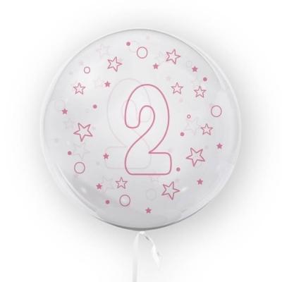 Balon Tuban 45cm cyfra 2 - Gwiazdki, różowy (TB 3685)