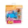Lalka Barbie On The Go Niebieski skuter + lalka (FHV76/FHV78)