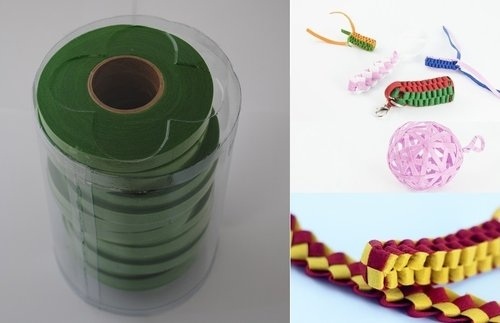 Wstążki filcowe 0,5cm. x 6m kolor zielony 13 sztuk