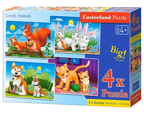 Puzzle 4x1 Lovely Animals