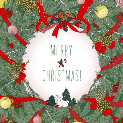 Karnet Swarovski kwadrat Święta Życzenia