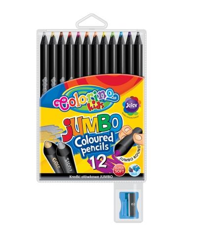Kredki okrągłe - Jumbo - 17,5 cm 12 kolorów czarne drewno (55857PTR)