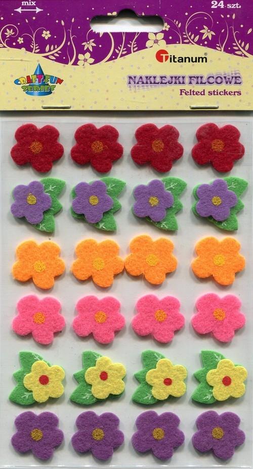 Naklejki filcowe kwiatki 24 sztuki