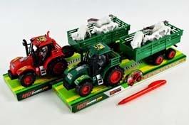 Traktor z przyczepą + zwierzęta